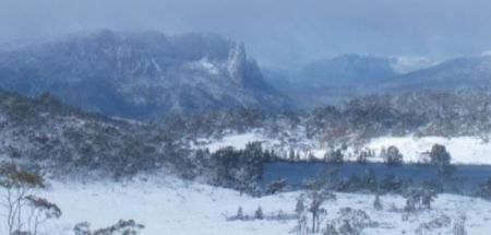 View from the Overland Track (Cradle Mt to Lake St Clair) in winter.